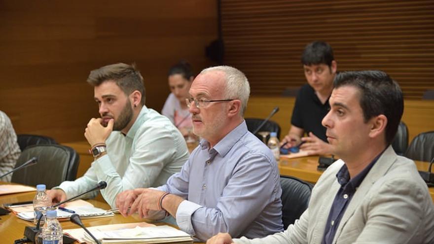 Fran Ferri (Compromís), Antonio Montiel (Podemos) y Antonio Subiela (Ciudadanos), en la comisión de RTVV de las Corts Valencianes.