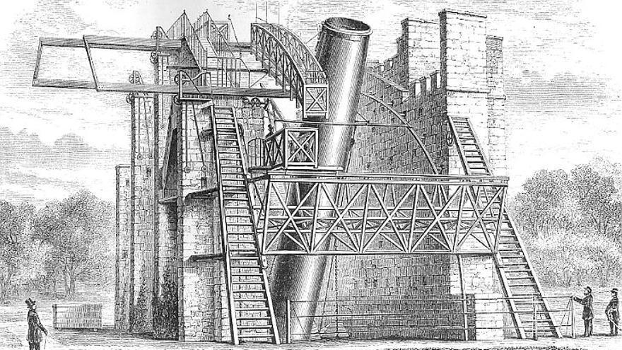 El observatorio de Lord Rosse en el castillo Birr (Irlanda) con el Leviatán de Parsonstown construido por William Parsons en 1845