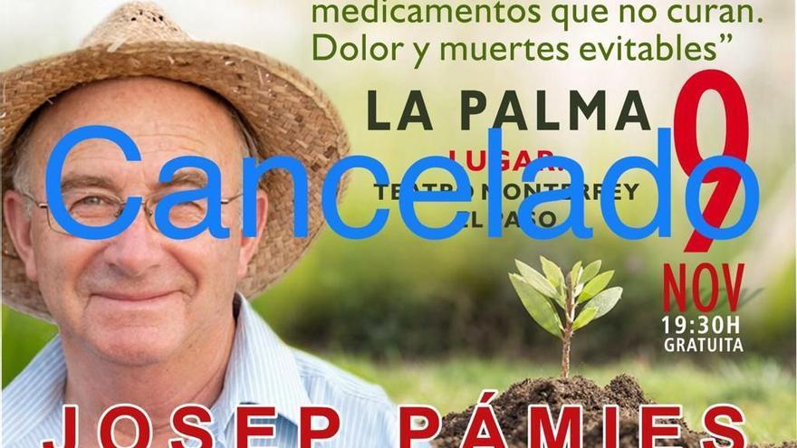Charla cancelada en La Palma.
