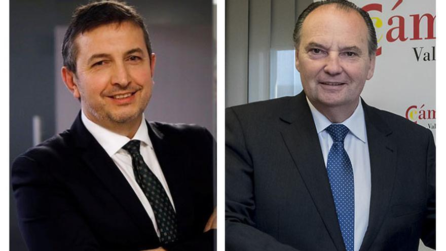 El presidente de Femeval, Vicente Lafuente, y el presidente de las Cámaras de Comercio, José Vicente Morata.