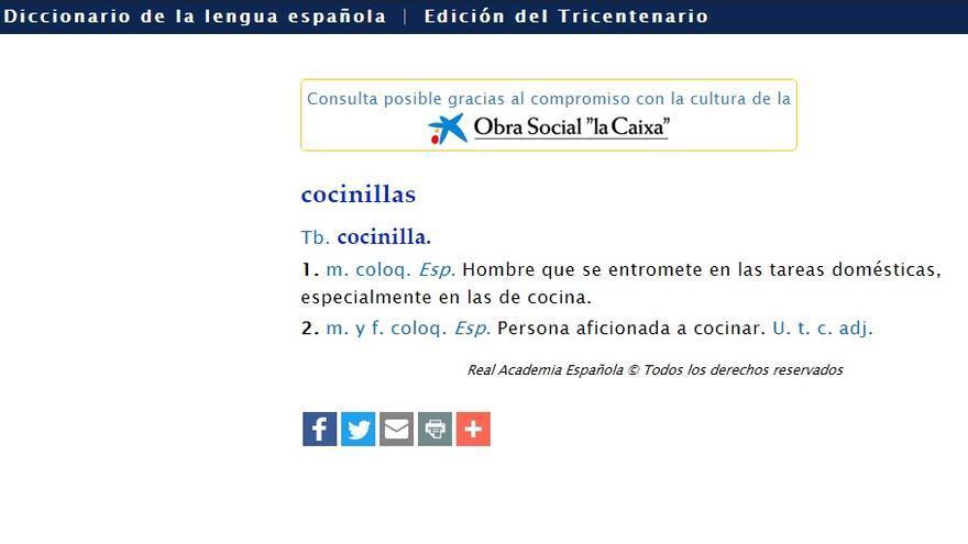 """La definición de """"cocinillas"""", según la RAE"""