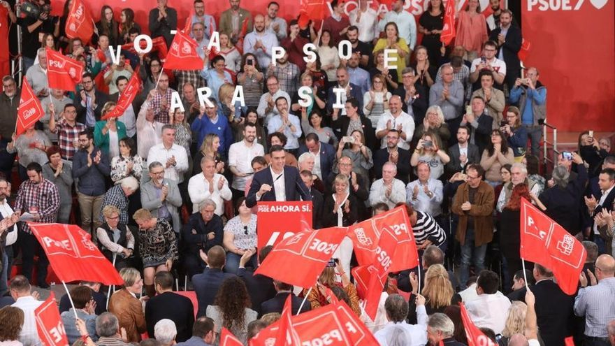 El candidato socialista Pedro Sánchez en el acto celebrado este jueves en Castellón.