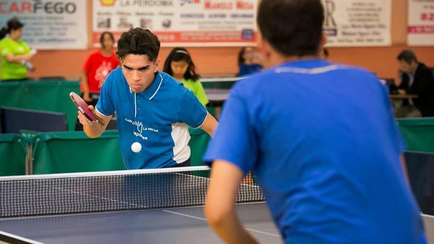 Dos jugadores en una partida de tenis de mesa. Foto: Cabildo de La Palma.