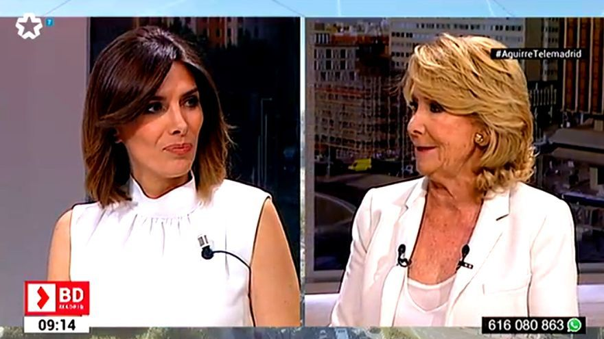 Verónica Sanz y Esperanza Aguirre, durante su encuentro en Buenos días, Madrid