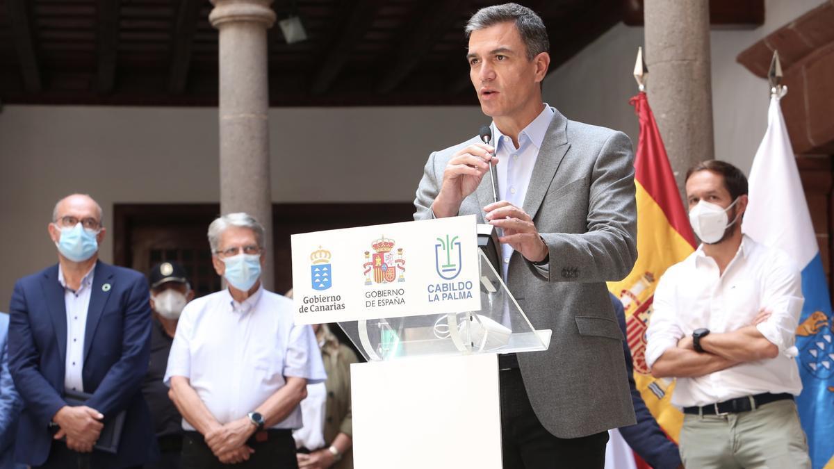 El presidente del Gobierno, Pedro Sánchez, en su última visita a La Palma