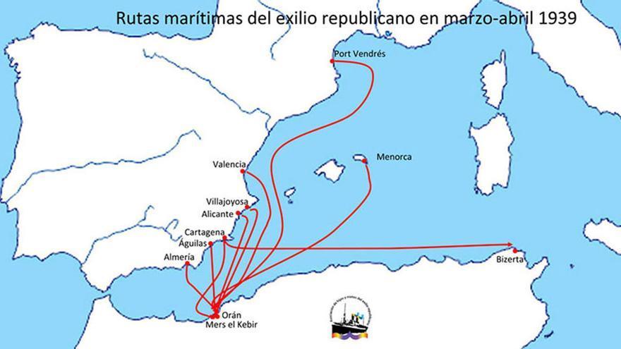 Rutas marítimas del exilio republicano de marzo a abril del 39. | BARCOS DEL EXILIO REPUBLICANO ESPAÑOL