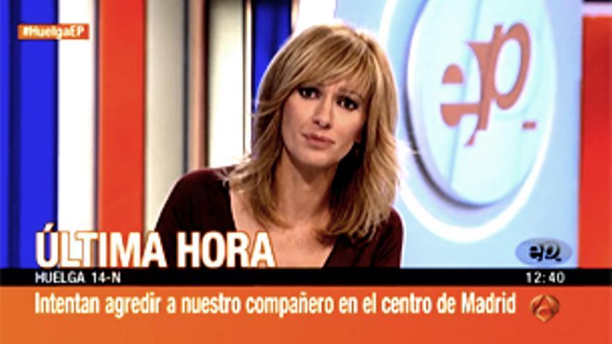 """Agresiones a las cadenas durante la huelga general, al grito de: """"¡Televisión, manipulación!"""""""