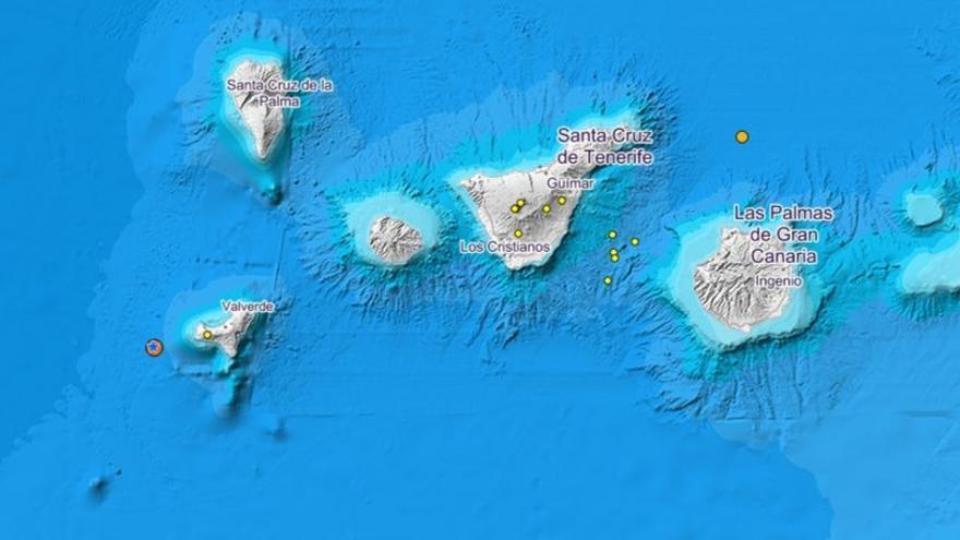 Detectado un terremoto de 3,5 de magnitud al oeste de El Hierro