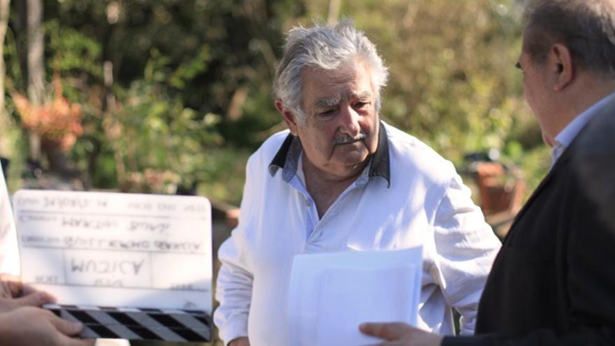 José Mujica, durante el rodaje de Frágil equilibrio