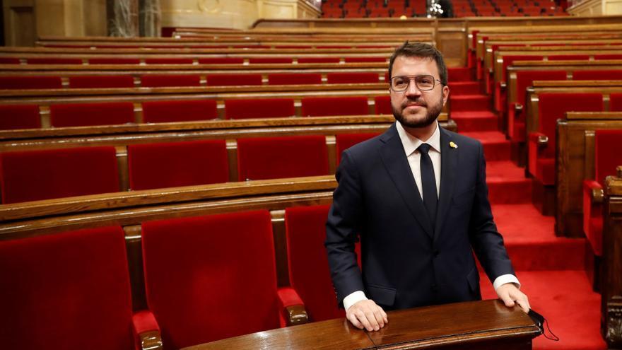El nuevo presidente de la Generalitat, Pere Aragonès, tras ser elegido.