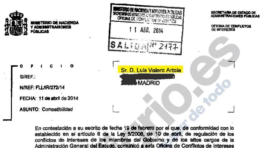 Autorización de la Oficina de Conflicto de Intereses para permitir a Luis Valero ser consejero en Enagás