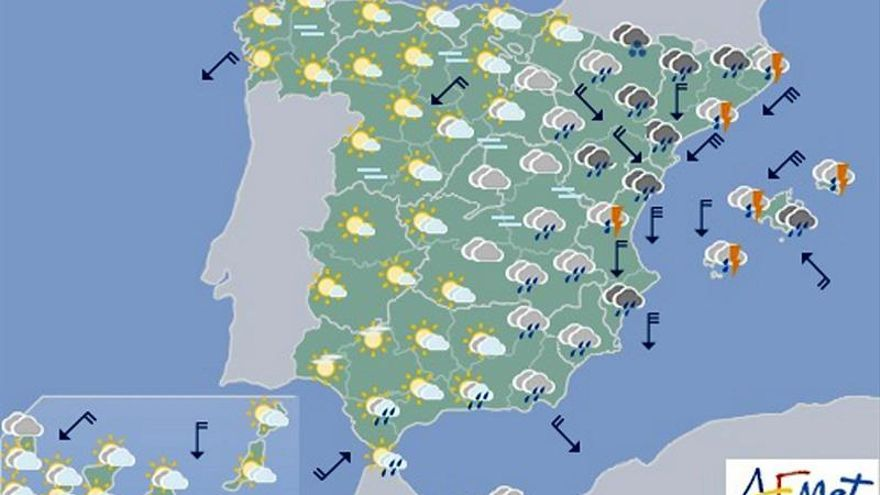 Lluvia muy fuerte hoy en toda el área mediterránea y nieve en las montañas