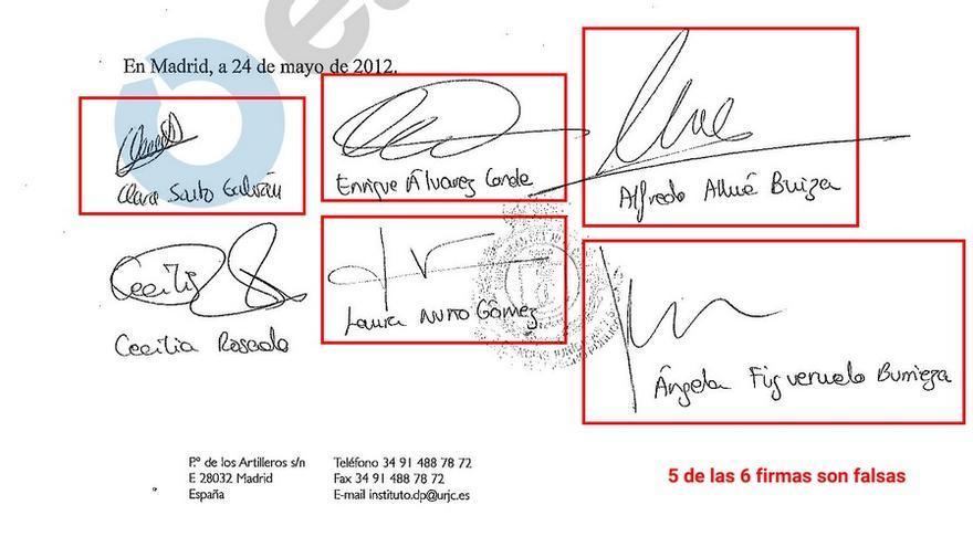 Detalle de una de las tres actas de convalidación con 5 de las 6 firmas falsificadas