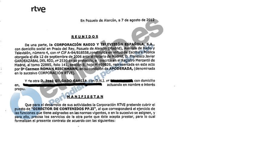 Extracto de uno de los contratos a directivos externos de RTVE