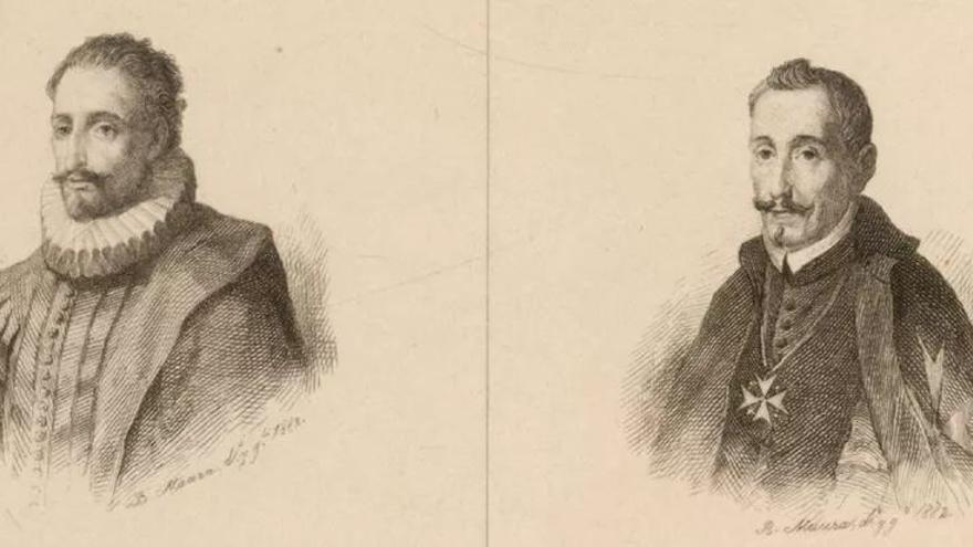 Cervantes y Lope en un aguafuerte de Bartolomé Maura Montaner de 1882