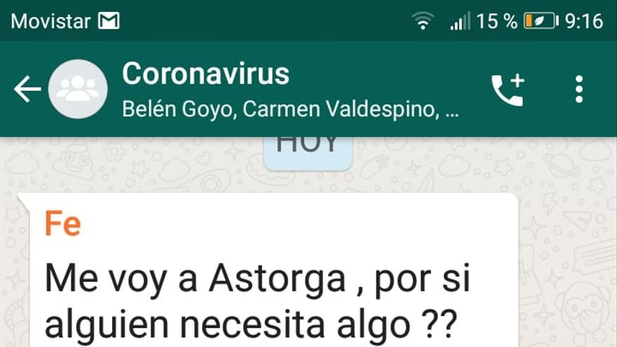 Captura de pantalla del grupo de Whatsapp 'coronavirus'.