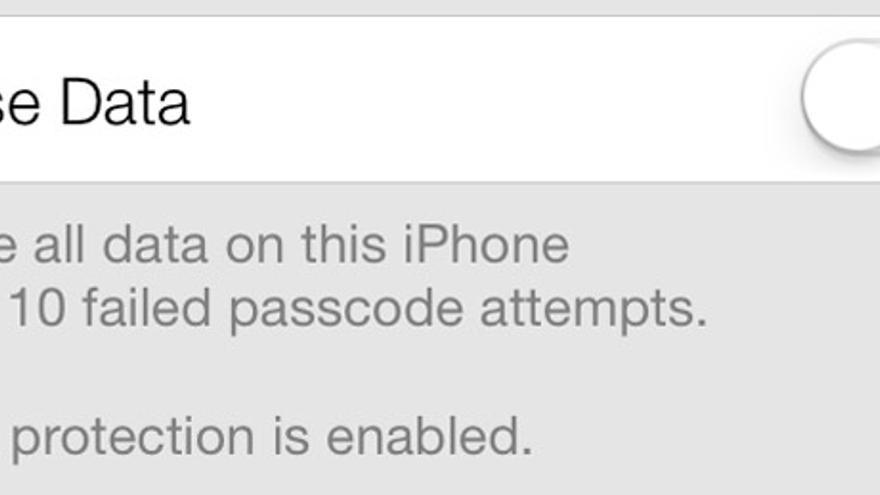 Borrar datos de un iPhone tras diez intentos fallidos