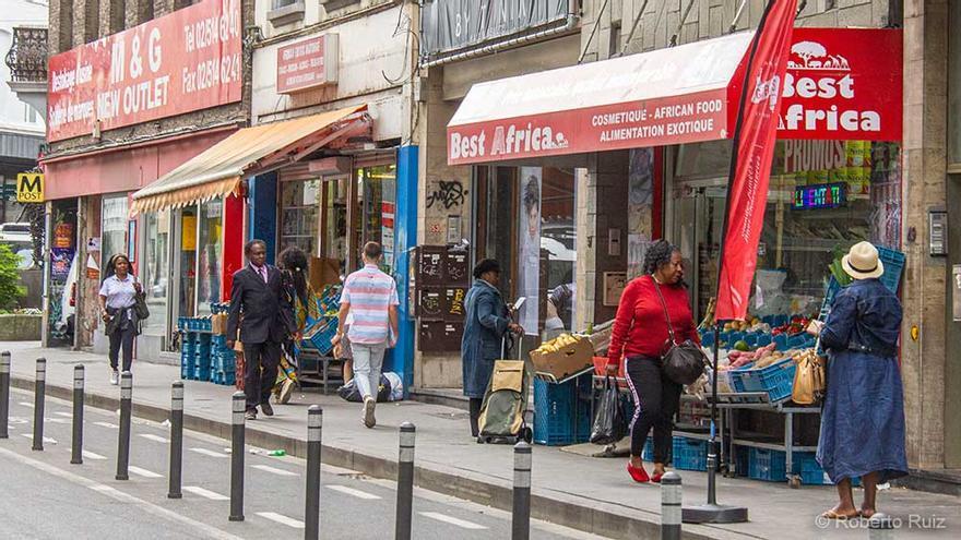 Las calles del barrio de Matongé, en Bruselas.