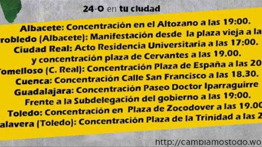 Convocatorias en Castilla-La Mancha para el 24 de octubre