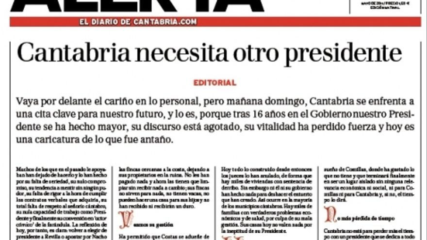 Portada del diario Alerta en la jornada de reflexión de las elecciones autonómicas de 2011.