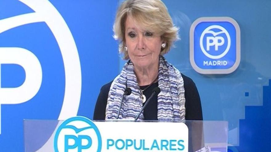 """Esperanza Aguirre agradece las """"muestras de apoyo"""" y señala que ha sido un """"honor"""" presidir el PP de Madrid"""
