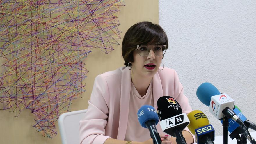 Violeta Barba, durante el anuncio de su retirada de la política.