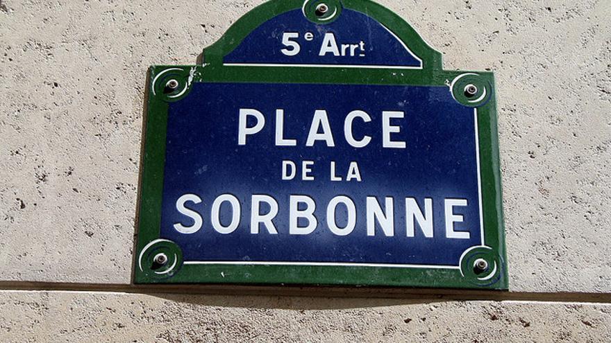 Cartel de la Plaza de la Sorbona de Paris, epicentro de las protestas de mayo del 68