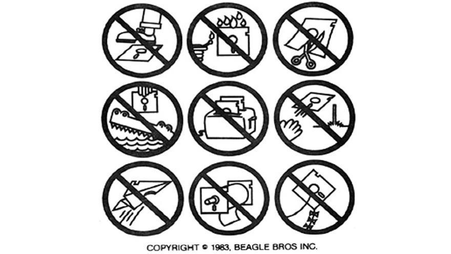 Los disquetes de Beagle Bros se acompañaban de estas delirantes prohibiciones
