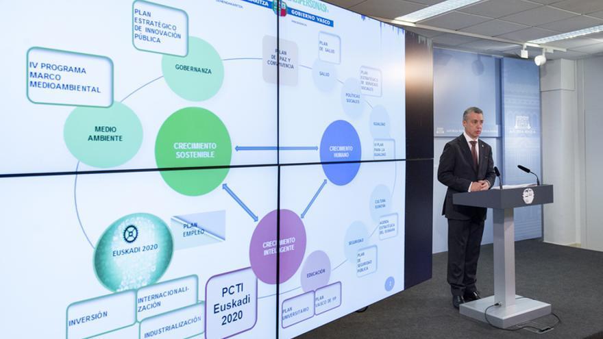 El lehendakari Iñigo Urkullu durante la presentación del Plan Vasco de Ciencia Tecnología e Innovación 2020. / Foto: Irekia