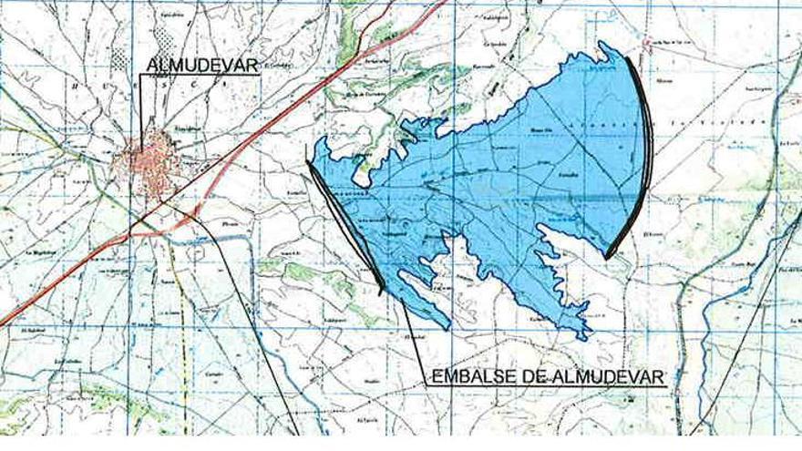 Mapa de Riegos del Alto Aragón con el embalse de Almudévar.