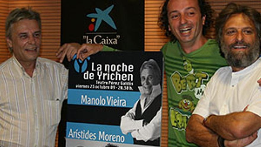 Jorge Hernández (1d), junto a Arístides Moreno y Manolo Vieira. (CANARIAS AHORA)
