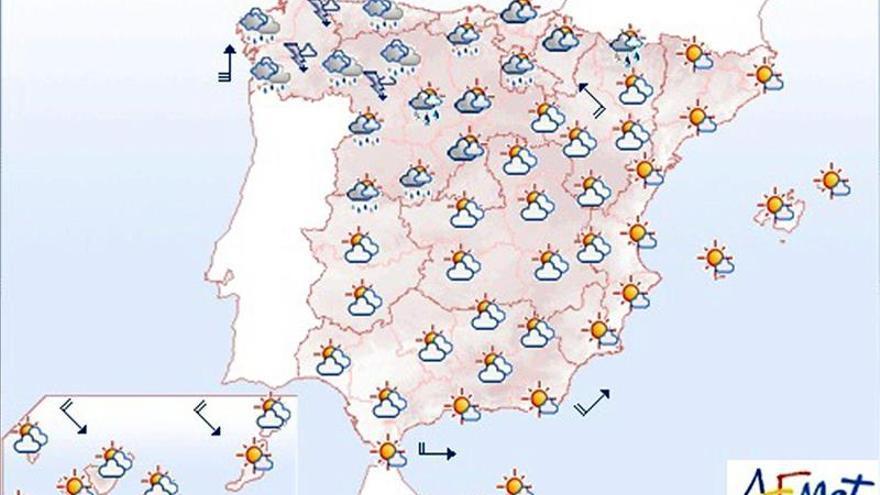 Lluvias persistentes en el noroeste, y viento en los Pirineos y el Estrecho