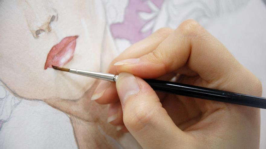 Detalle del trabajo de una estudiante de la Escuela de Arte número 1 de Puente San Miguel.