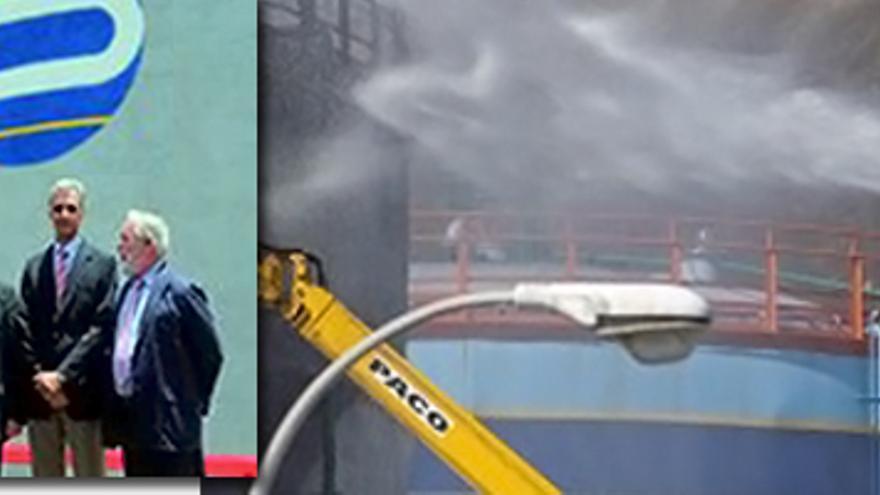 En la imagen de la izquierda, Arias Cañete, delante del tanque en el que ocurrieron los hechos. En la fotografía de la derecha,  operarios intentado sofocar el fuego.