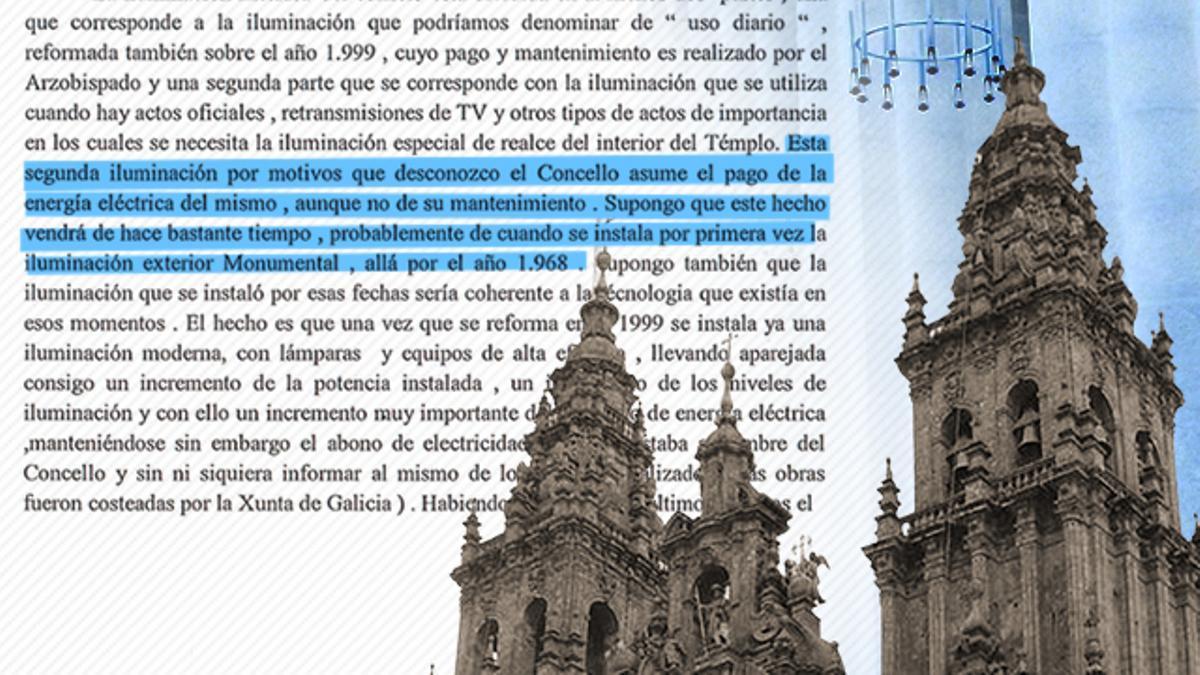 Un informe del Ayuntamiento de Santiago sugiere que la catedral lleva sin pagar sus principales facturas de la luz desde 1968