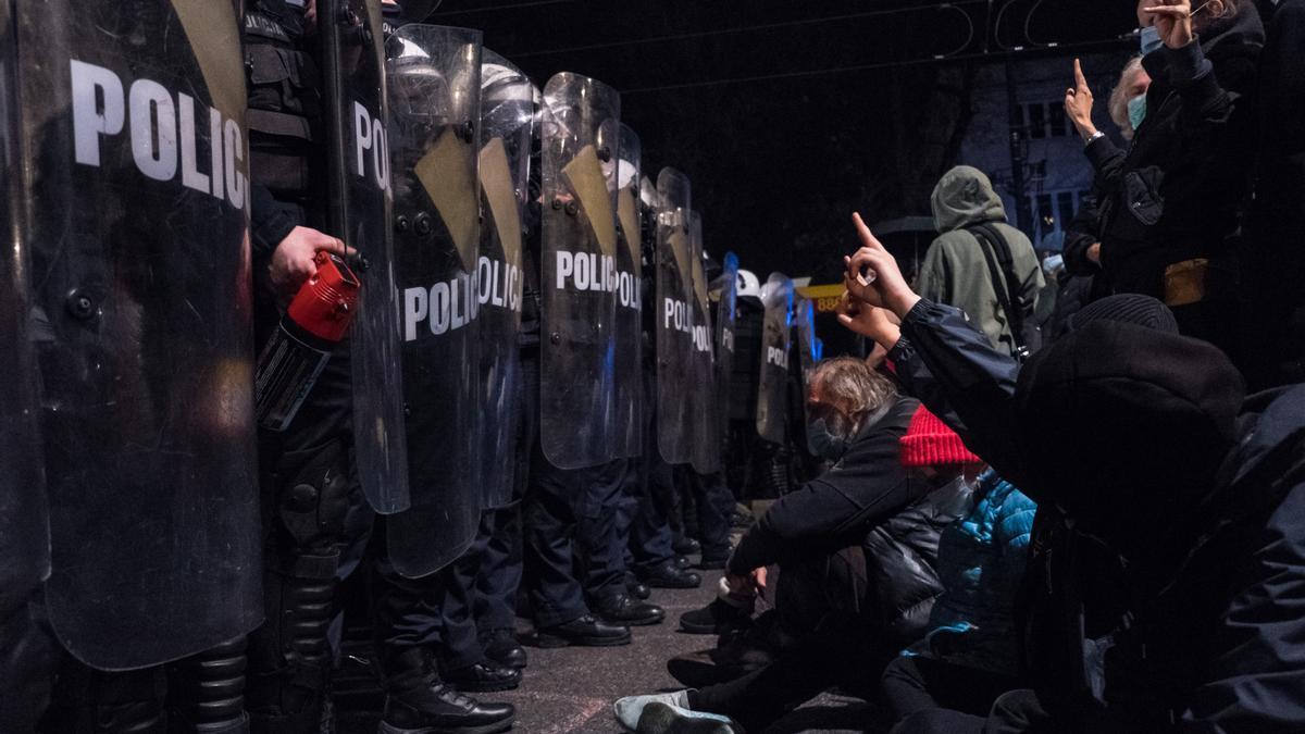 Protesta en Varsovia por la prohibición casi total del aborto, octubre de 2020.