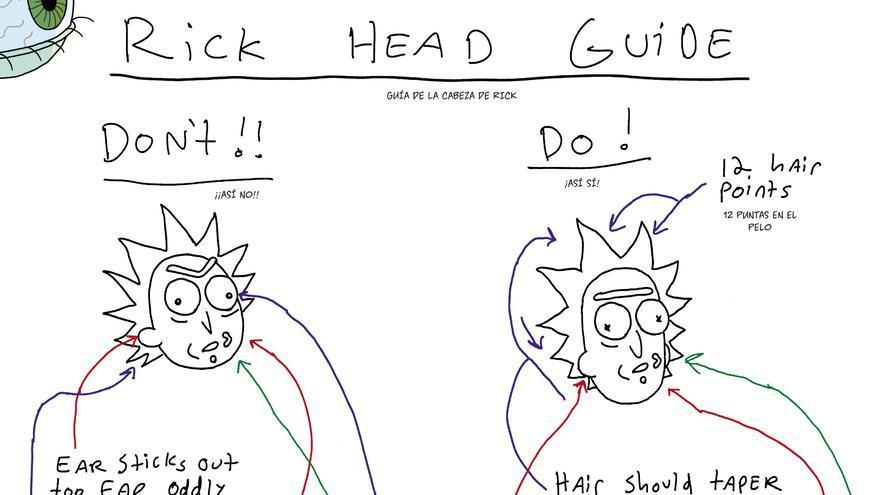 Guía para dibujar la cabeza de Rick