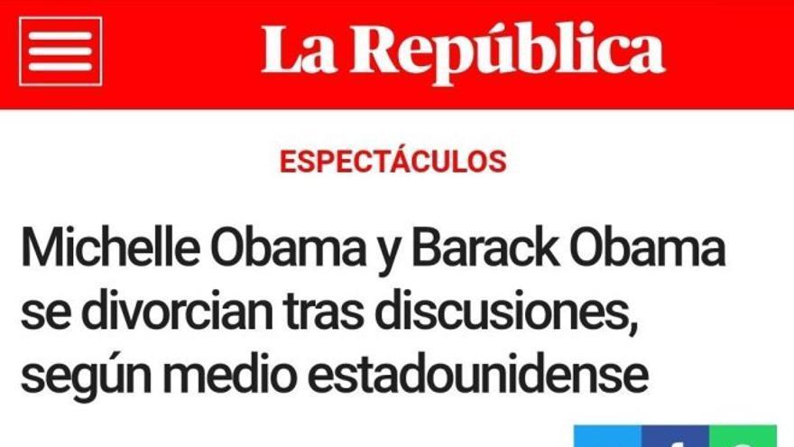 """""""Noticia"""" de La República sobre la ruptura de Michelle y Barack Obama."""