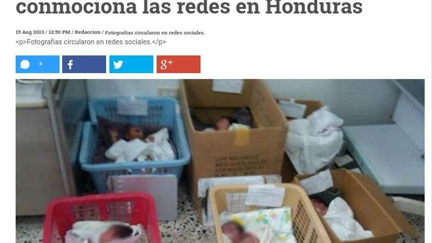 La foto de los recién nacidos en cajas, que en realidad era de Honduras.