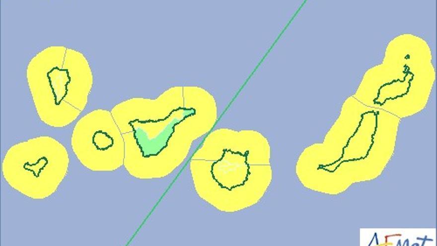 Aviso amarillo por vientos y oleaje en Canarias. (AEMET)