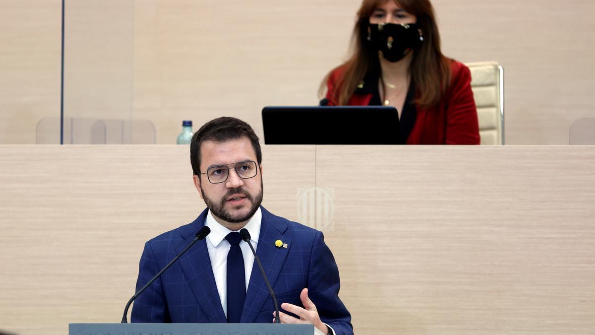Aragonès, durante su discurso de investidura