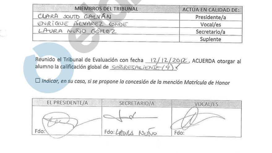 La firma de Laura Nuño figura en tribunales de defensa de TFM del máster de Cifuentes