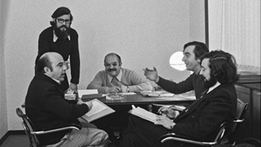 El equipo directivo de la agencia Publipress. De izquierda a derecha: Luis Torres, Francesc Jarque, Vicent Ventura, Andreu alfaro y Alfredo Benavent, 1972