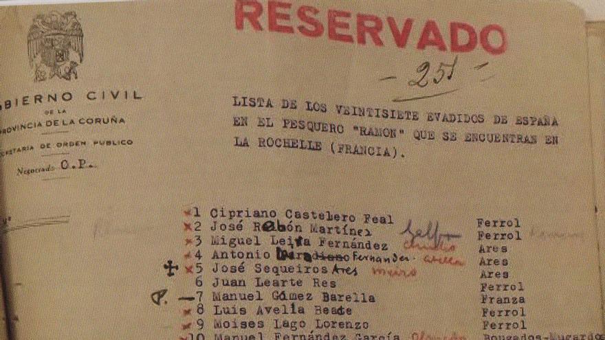 Documento que forma parte de la causa judicial abierta por las autoridades franquistas tras la fuga