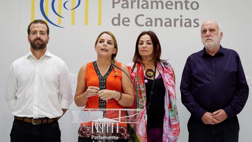 La portavoz del grupo Podemos, Noemí Santana (2i), junto a los diputados de su grupo parlamentario, Juan José Márquez (i), María del Río Sánchez (2d) y Manuel Marrero (d)