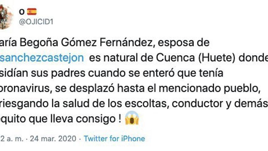 Primer mensaje que cita en Twitter el bulo sobre la presencia de Begoña Gómez, esposa de Pedro Sánchez, y sus hijas, en Huete (Cuenca).