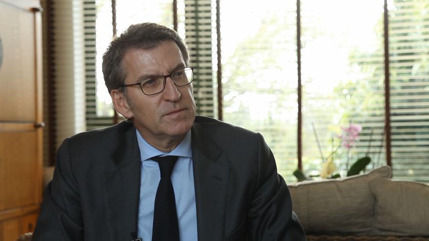 Alberto Núñez Feijóo, durante la entrevista con eldiario.es/MIRAMEMIRA