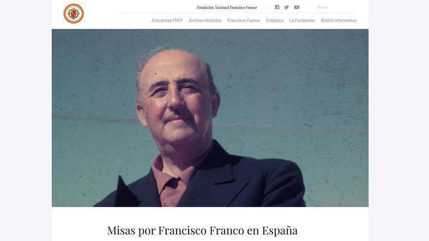 """La Fundación Franco publicita las misas """"por el alma del Generalísimo""""."""