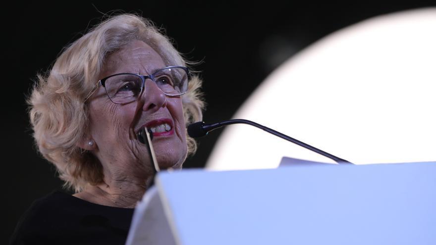 Manuela Carmena en el acto de cierre de campaña de Más País en Madrid.
