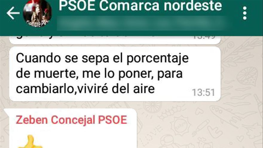 Cadena de mensajes de Zebenzuí en el grupo de WhatsApp del PSOE Nordeste. Para evitar que puedan ser identificados sus participantes, sus nombres y otros detalles han sido editados.